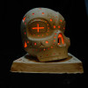 illuminated ceramic Skull Lantern