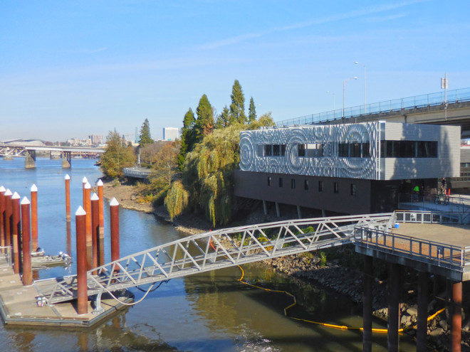 view of the rippling wall from the Hawthorne Bridge Portland Oregon