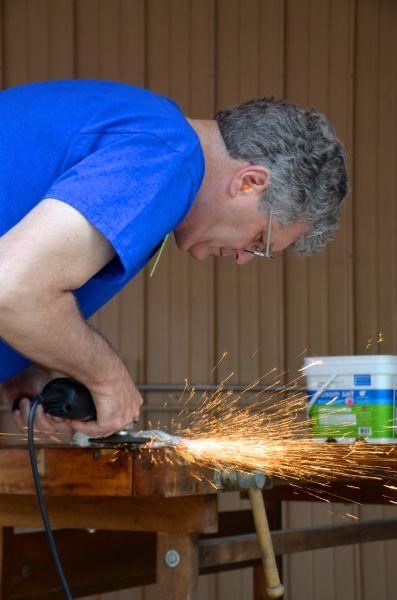 David grinding his blades