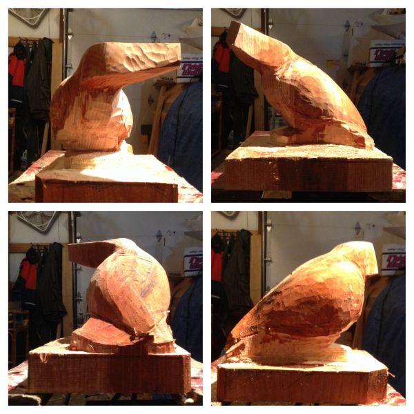 step 3 Raven sculpture