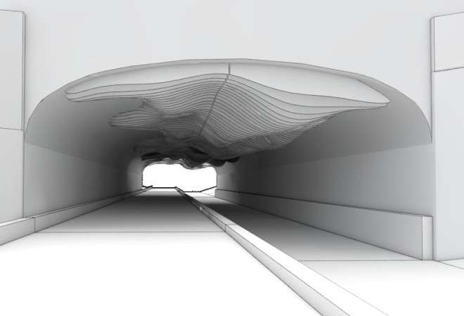 Rendering from the opposite entrance of the Dune Sculpture concept in the pedestrian underpass