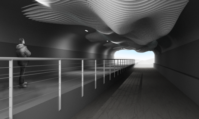 rendered view from of the sculpture Inside the Central Park Boulevard underpass