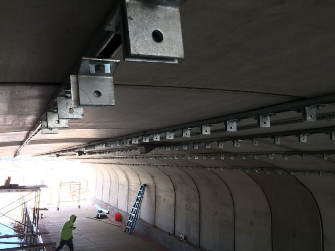 Unistrut and bracket installation nearly completed