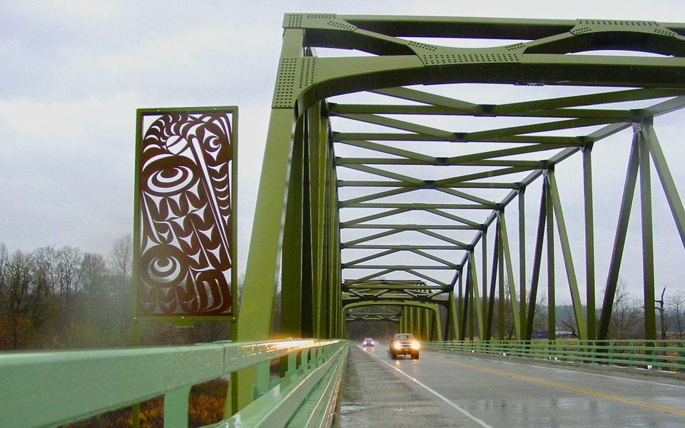 Metal Heron Sculpture on Tolt River Bridge