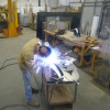 One of the Salmon lanterns being welded