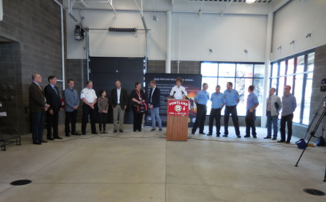 Portland Fire and Rescue Chief Erin Janssens addressing the crowd at the   open house for Fire Station 21
