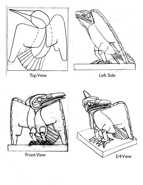 drawings for an alternate wings open version of the Raven sculpture