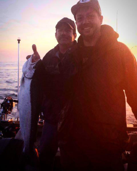 Catching fish on Lake Michigan