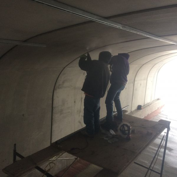 Mike Adcock and Alexandro, from Adcock Concrete in Grand Junction, CO, install the unistrut